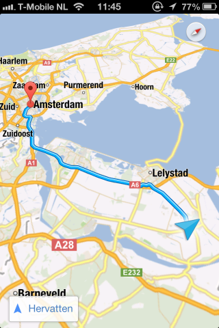 Google Maps app IOS Navigatie