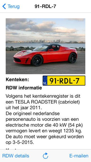 app voor opzoeken auto informatie