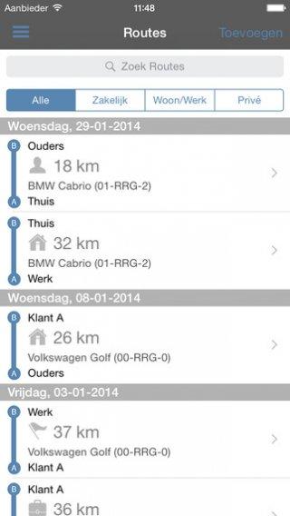 App registreren gereden kilometers