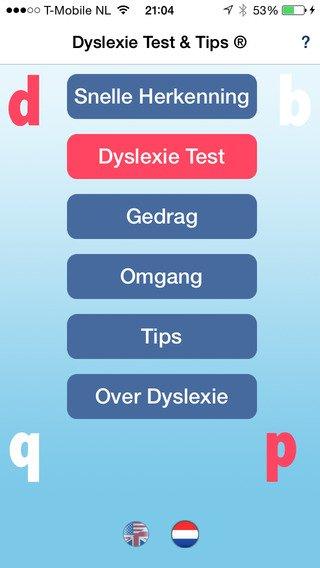 App voor herkennen Dyslexie, hoofdmenu