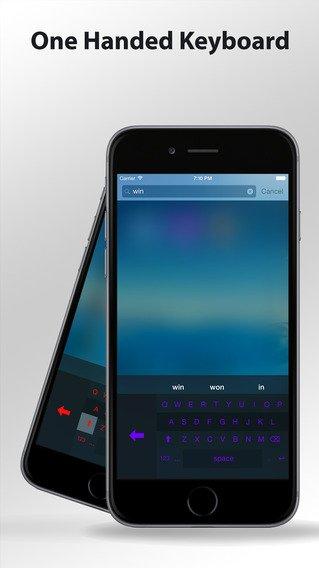 App voor gebruik toetsenbord met één hand