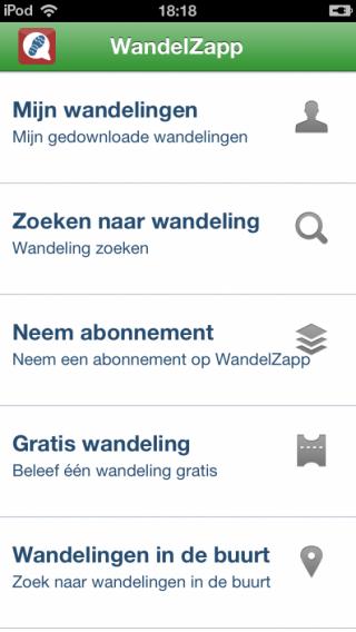 WandelZapp menu
