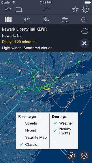 App voor vliegtuigen volgen